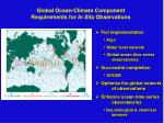 global ocean climate component requirements for in situ observations