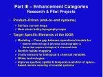 part iii enhancement categories research pilot projects