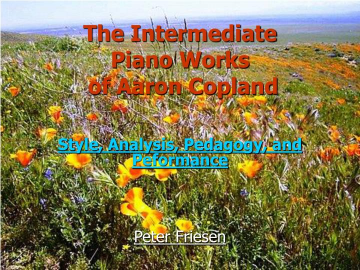 the intermediate piano works of aaron copland n.