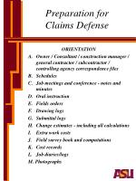 preparation for claims defense
