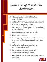 settlement of disputes by arbitration1