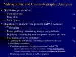 videographic and cinematographic analyses