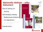 nationella riktlinjer olika dokument