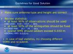 guidelines for good solution