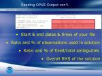 reading opus output con t