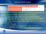 reading opus output