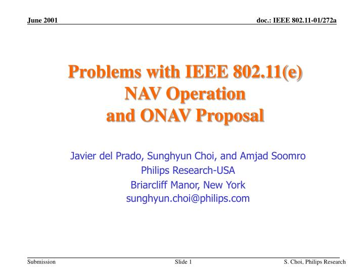problems with ieee 802 11 e nav operation and onav proposal n.