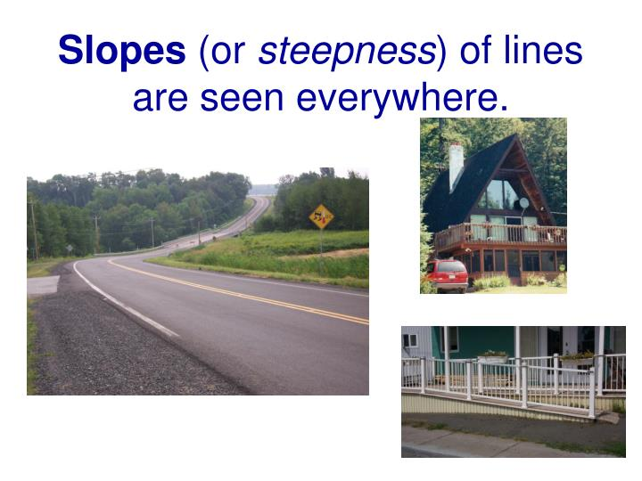 slopes or steepness of lines are seen everywhere n.