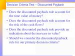 decision criteria test discounted payback