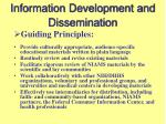 information development and dissemination
