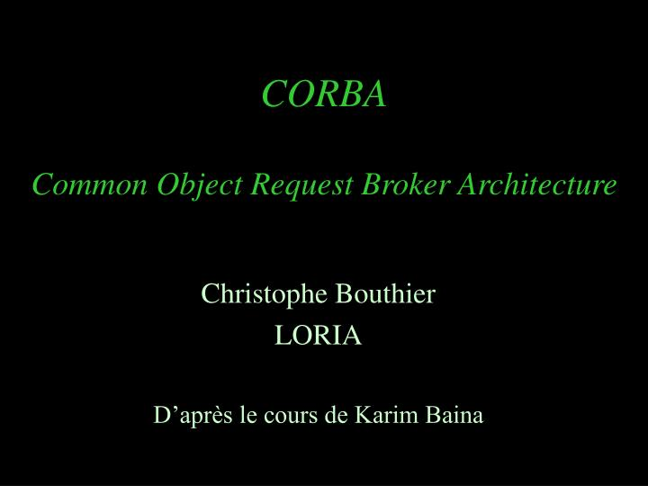 corba common object request broker architecture n.