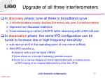 upgrade of all three interferometers