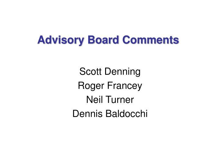 advisory board comments n.