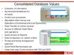 consolidated database values