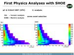 first physics analyses with shoe