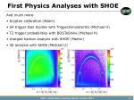 first physics analyses with shoe2