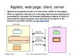 applets web page client server