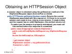 obtaining an httpsession object