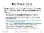 the servlet class