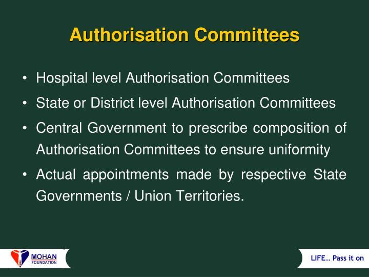 Authorisation Committees