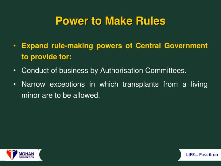 Power to Make Rules