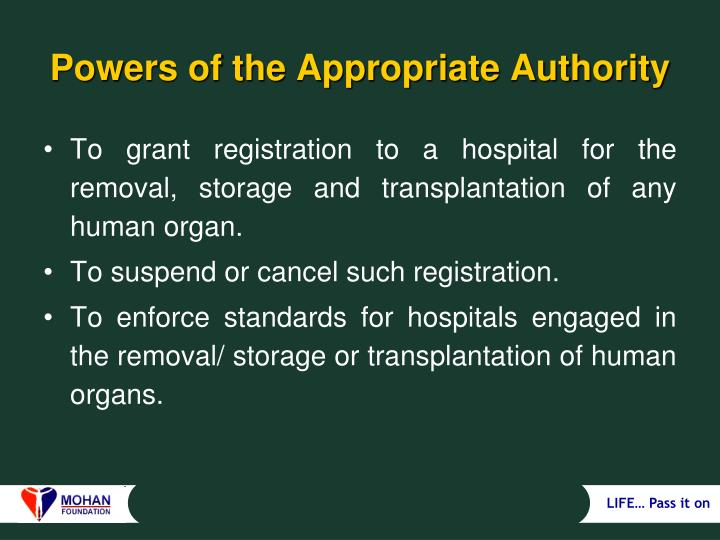 Powers of the Appropriate Authority