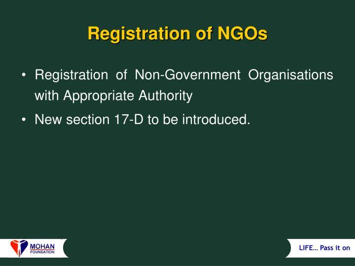 Registration of NGOs