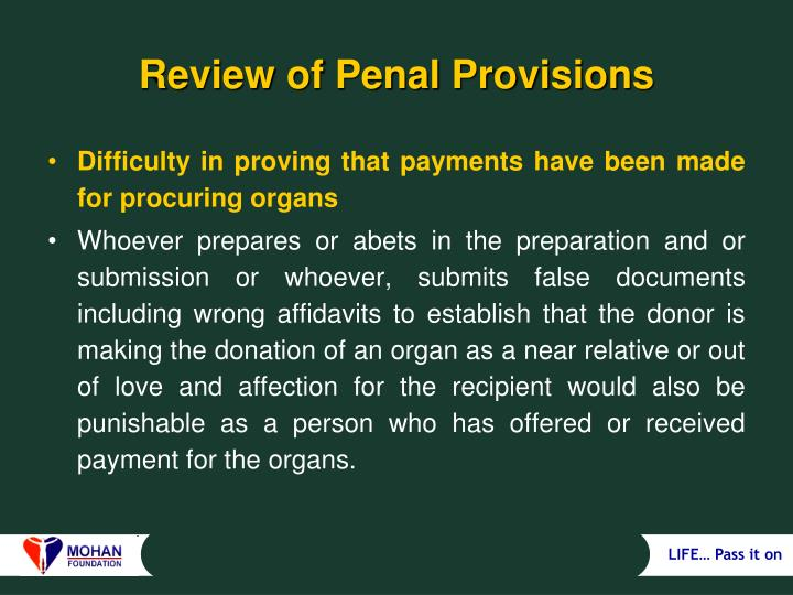 Review of Penal Provisions
