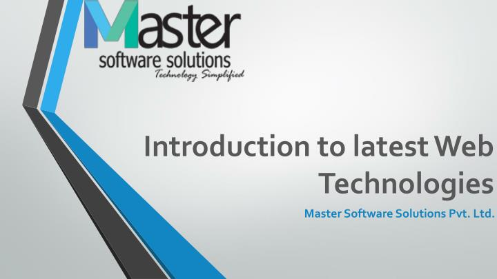 introduction to latest web technologies n.