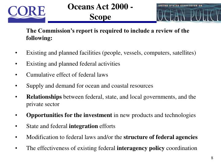 Oceans Act 2000 - Scope