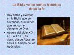 la biblia ve los hechos hist ricos desde la fe