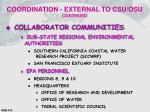 coordination external to csu osu continued