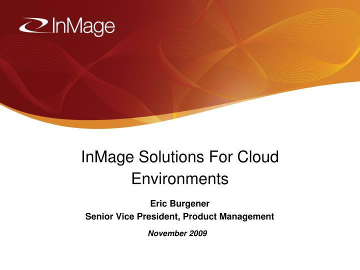 inmage solutions for cloud environments n.