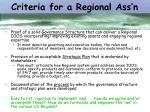 criteria for a regional ass n