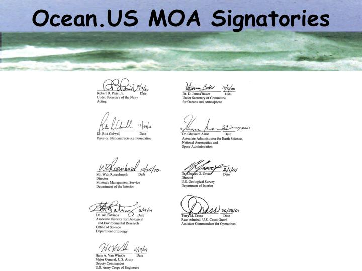 Ocean.US MOA Signatories