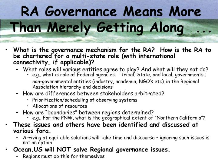 RA Governance Means More Than Merely Getting Along  ...