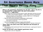 ra governance means more than merely getting along
