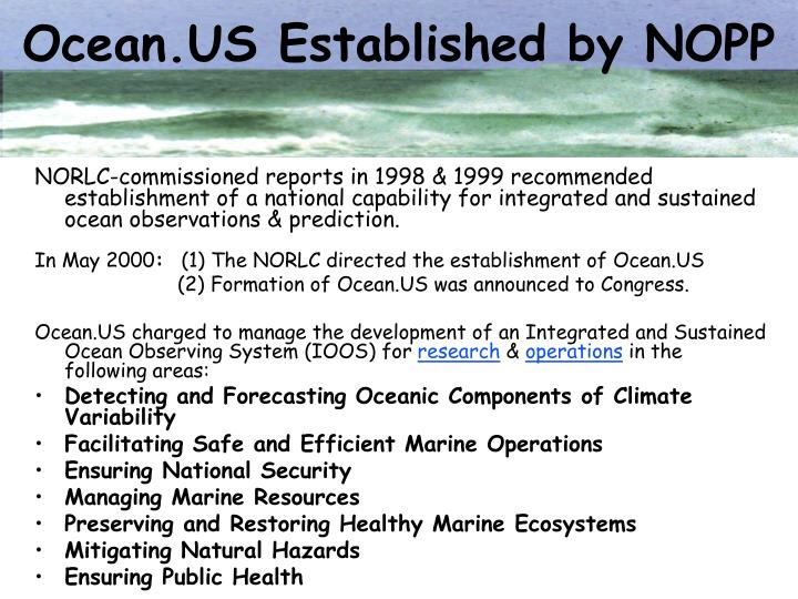 Ocean.US Established by NOPP