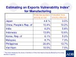 estimating an exports vulnerability index for manufacturing