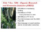 title 7 sec 7206 organic research and extension initiative orei