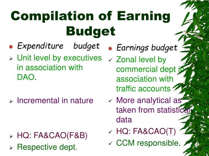 compilation of earning budget n.