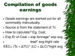 compilation of goods earnings