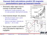 vacuum field calculations predict 3d magnetic perturbations open up resonant islands