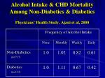 alcohol intake chd mortality among non diabetics diabetics physicians health study ajani et al 2000