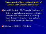 meta analysis of interventional studies of alcohol and coronary heart disease
