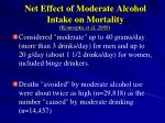 net effect of moderate alcohol intake on mortality