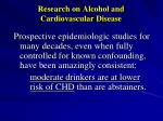 research on alcohol and cardiovascular disease