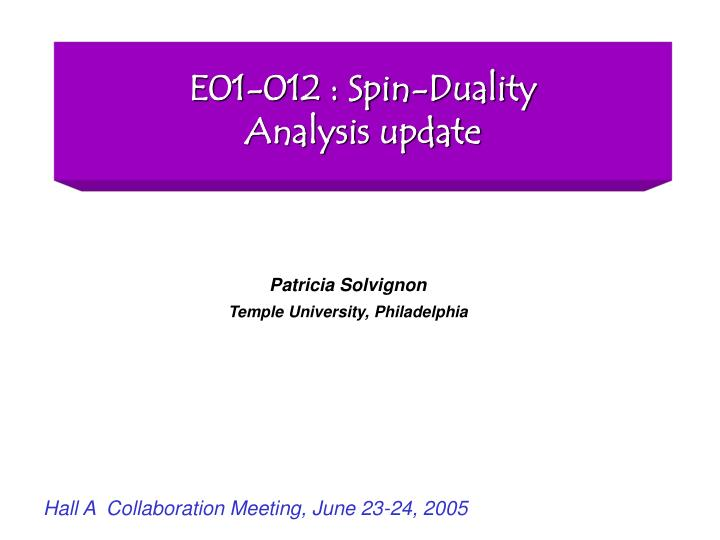 e01 012 spin duality analysis update n.