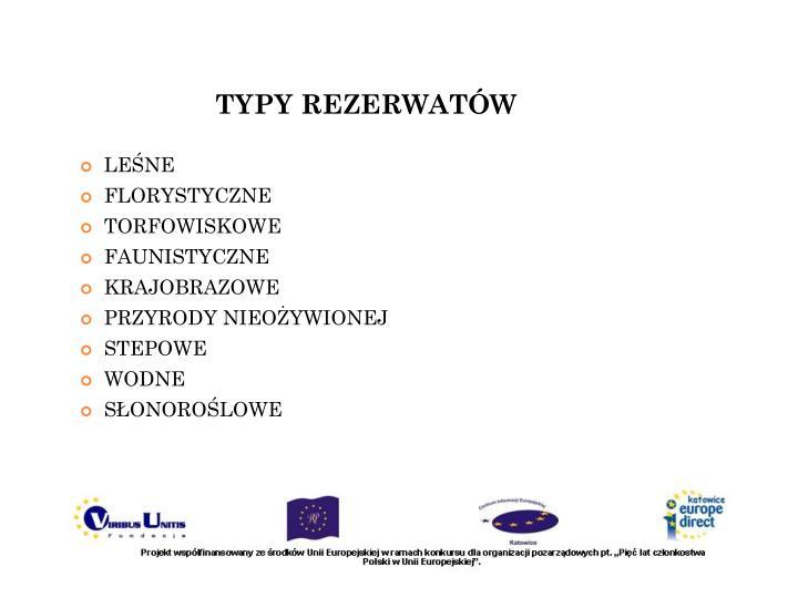 TYPY REZERWATÓW
