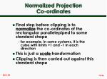 normalized projection co ordinates